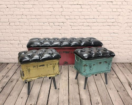 Set of 3 Industrial Metal and PU Storage Stools